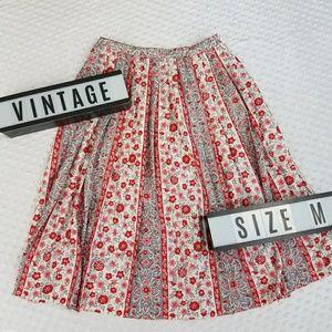 Vintage high waisted floral pleat skirt